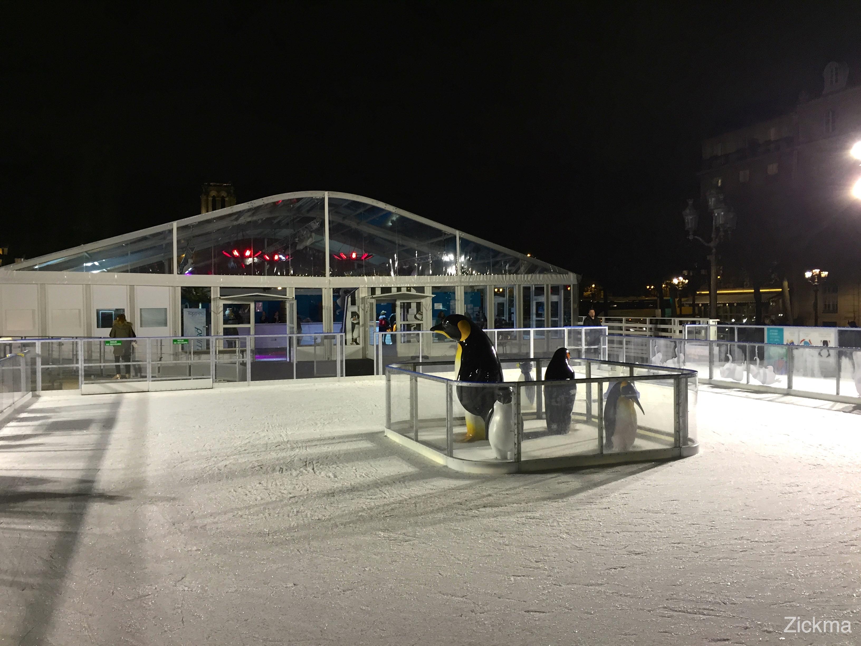 Les pingouins de madagascar inaugurent la patinoire de for Piscine patinoire